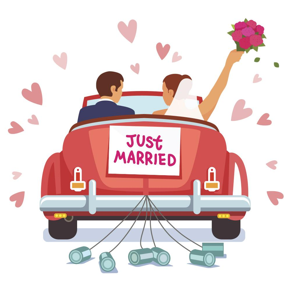 just married couple vector image - ABC Title